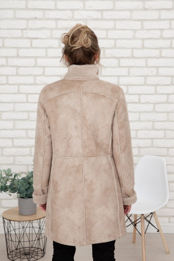 Kunstpelz Mantel - beige